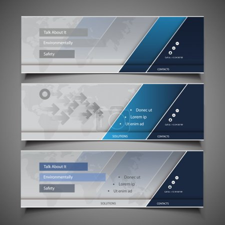 Illustration for Set of Blue and Silver Grey Horizontal Headers or Banners with Abstract World Map Background - Design Template for Business or Technology in Freely Scalable and Editable Vector Format - Royalty Free Image