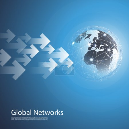Illustration for Abstract Blue Modern 3D Global Networks Concept Creative Design Template with Wired Earth Globe and Arrows - Template Illustration for Business, IT or Technology  in Freely Scalable and Editable Vector Format - Royalty Free Image