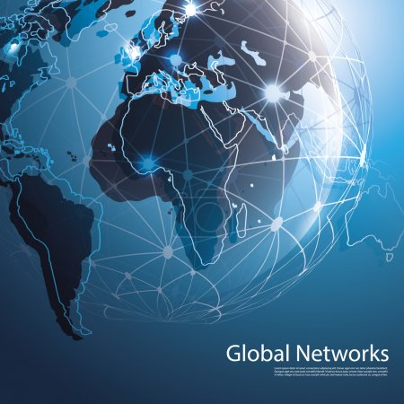 Illustration for Abstract Blue 3D Global Networks Concept Creative Design Template with Wired Earth Globe for Business, IT or Technology - Illustration in Freely Scalable and Editable Vector Format - Royalty Free Image