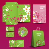 Stationery Template Corporate Image Design with Flowers Pattern