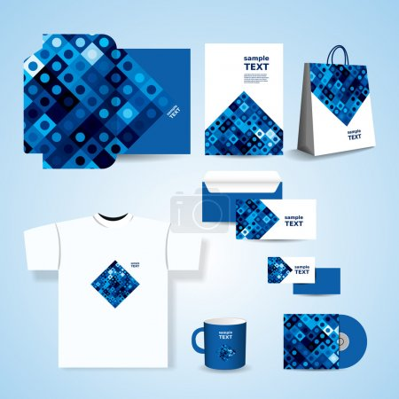 Stationery Template, Corporate Image Design with Abstract Blue Retro Styled Squares Pattern