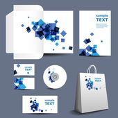 Stationery Template Corporate Image Design with Abstract Blue Squares
