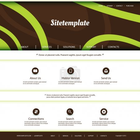 Website Template with Abstract Header Design - Curves Pattern