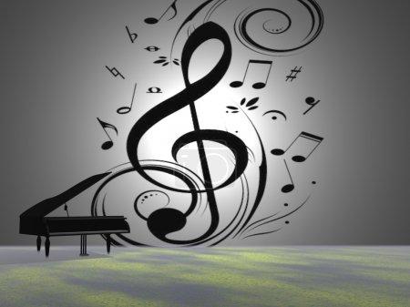 Photo pour Notes de musique et de piano et de trompette - image libre de droit