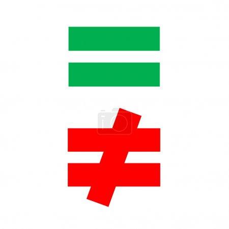 Photo pour Mathématique égale et différence vert rouge - image libre de droit
