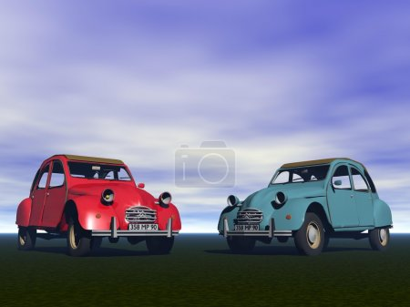 Photo pour Auto Citroën 2CV rouge et bleu - image libre de droit