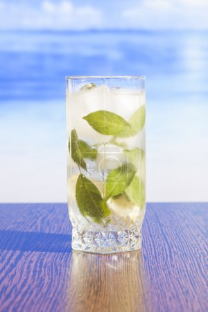 Refreshing iced tea with mint leaves