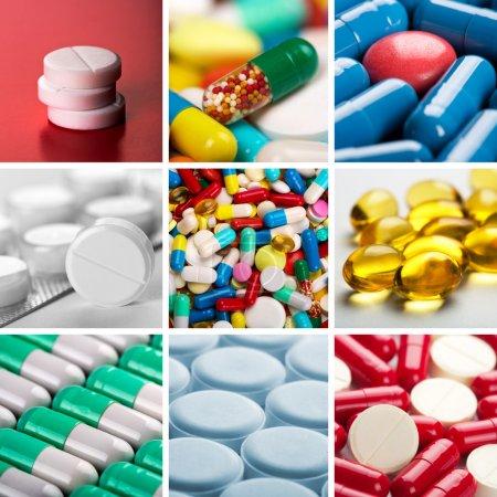 Photo pour Collage de différentes pilules colorées - image libre de droit