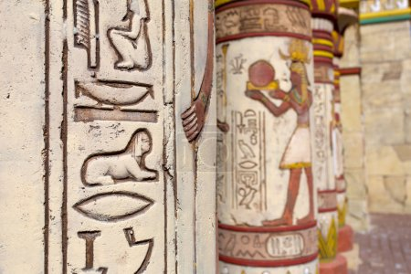 Ancient egyptian wall paintings on column...