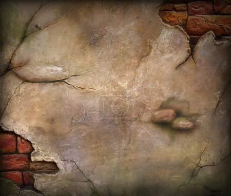 Photo for Old damaged brick wall. Use for background - Royalty Free Image
