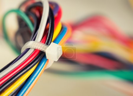 Photo for Closeup of colorful electrical cables - Royalty Free Image
