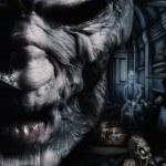 Portrait of dark deadman with widow on background...