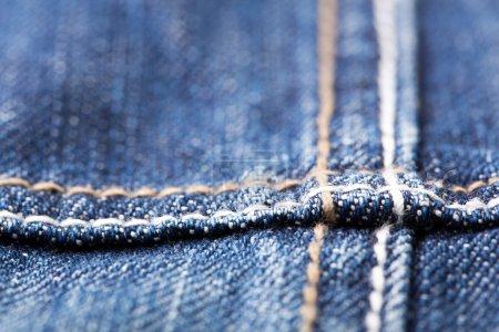 Seam on blue jeans