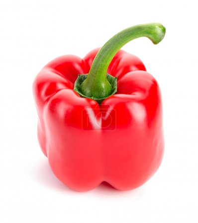 Photo for Glossy red Pepper. Isolated over white. Fresh vegetables. - Royalty Free Image