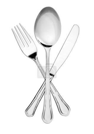 Photo for Crossed fork, spoon and knife isolated on white - Royalty Free Image