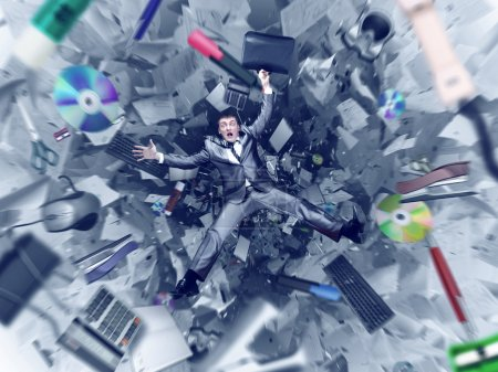 Photo for Afraid businessman is falling into office chaos abyss - Royalty Free Image