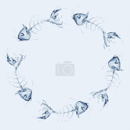 Water fishbones circling around each other in blue...