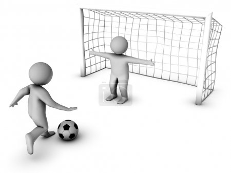 Two 3D soccer players