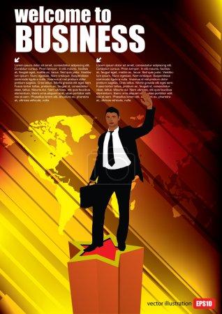 Businessmen  on world map
