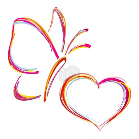 Painted heart and butterfly