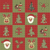 Christmas seamless pattern Vector background in the style of patchwork