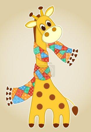 Photo pour Girafe dans une écharpe. Demande pour les enfants. Illustration vectorielle . - image libre de droit