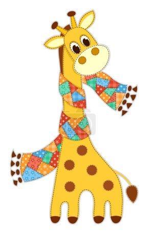 Photo pour Girafe dans une écharpe. Demande pour les enfants. Illustration vectorielle. Isolé sur blanc . - image libre de droit