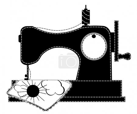 Silhouette of the sewing machine. Vector illustrat...