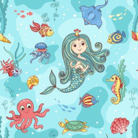 Photo pour Modèle sans couture avec princesse sirène. Illustration vectorielle de dessin animé . - image libre de droit