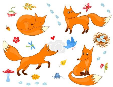 Photo pour Un ensemble de mignons renards. Illustration vectorielle de dessin animé . - image libre de droit
