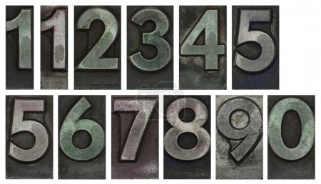 Photo for Metal type numbers isolated on white - Royalty Free Image