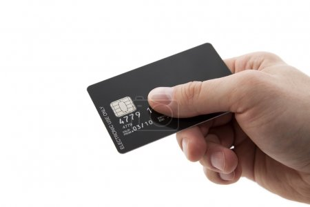 Hand with black credit card with chip
