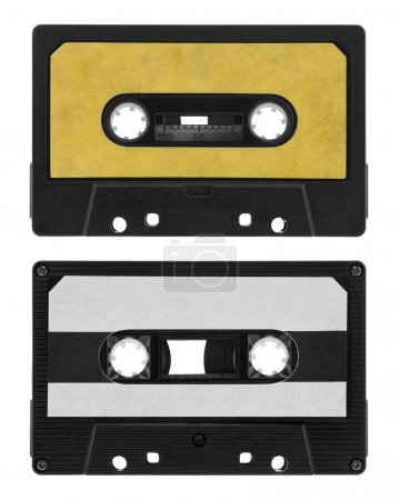 Old cassette tape isolated on white