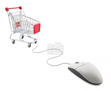 Internet shopping. Computer mouse and shopping cart.