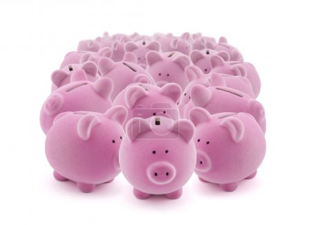 Large group of pink piggy banks