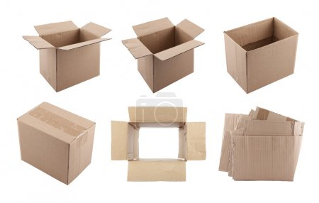 Photo for Set of cardboard boxes with clipping path - Royalty Free Image
