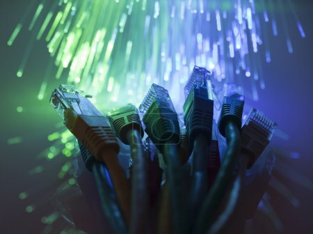 Network cables with fiber optical background