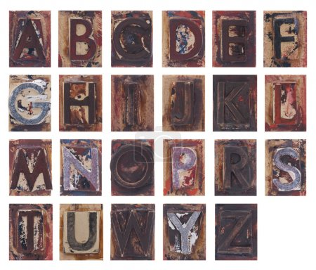 Old wooden alphabet letters isolated on white background