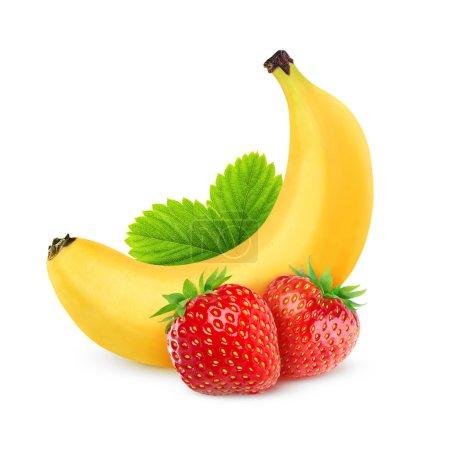 Foto de Fresas y plátano aislado en blanco - Imagen libre de derechos