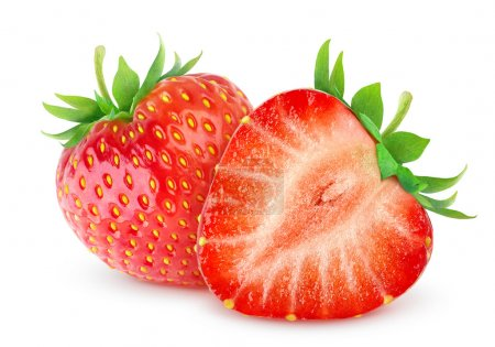 Photo for Two strawberries isolated on white - Royalty Free Image