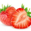 Two strawberries isolated on white...