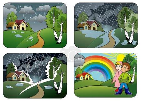 Illustration pour Ensemble de conditions météorologiques différentes : grêle, averse, orage et arc-en-ciel, illustration vectorielle - image libre de droit