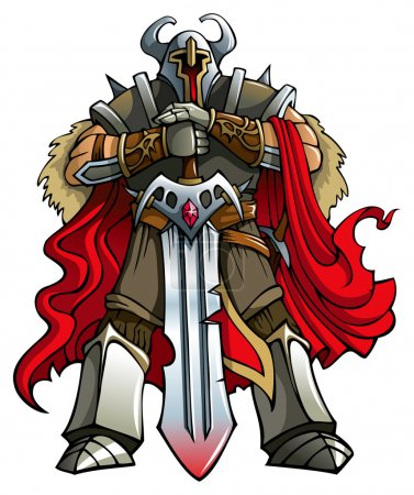 Illustration pour Chevalier croisé avec épée énorme, illustration vectorielle, dégradés - image libre de droit