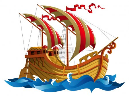 Illustration for Sailing ship in oceanic waves, vector illustration - Royalty Free Image