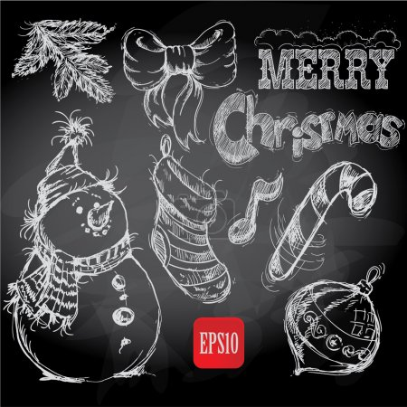 Christmas retro sketch doodles on chalkboard background