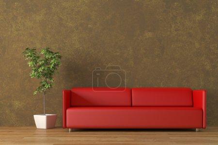 Urban interior with sofa