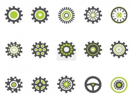Illustration for Isolated gear and cog icons with green color on white background - Royalty Free Image