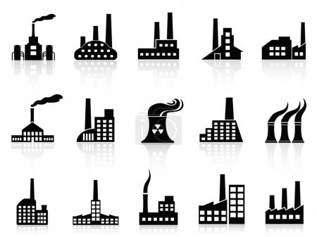 Photo for Isolated black factory icons set from white background - Royalty Free Image