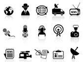 News reporter icons set