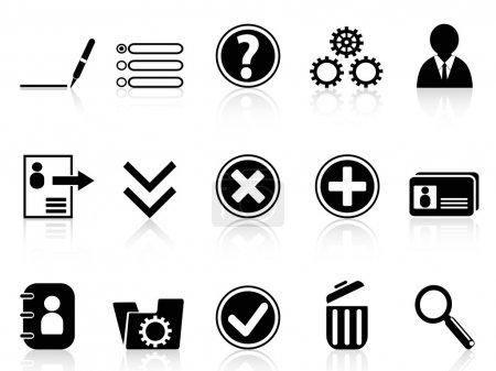 Illustration pour La collection de l'icône Paramètres du compte Internet noir en arrière-plan blanc - image libre de droit